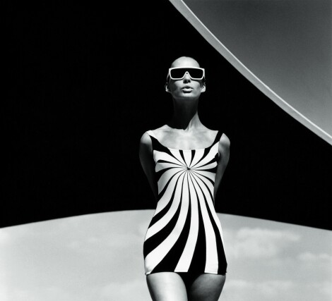 Brigitte Bauer, Op Art-bathing suit by Sinz / F.C. Gundlach